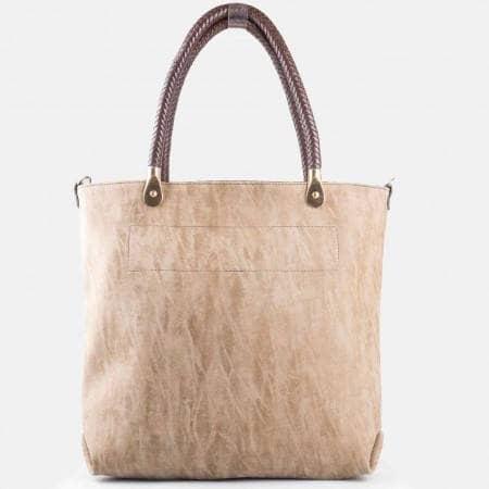 Дамска ежедневна стилна чанта с модерния трит ефект в бежов цвят  ch1235bj