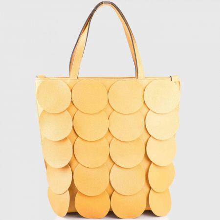 Атрактивна жълта дамска чанта с кръгове на водещ български производител ch1237tj
