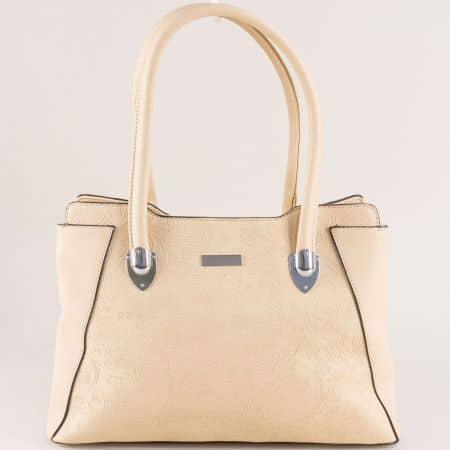 Дамска чанта в бежов цвят с две прегради ch124449bj