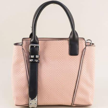 Розова дамска чанта с две къси и дълга дръжка ch124452rz
