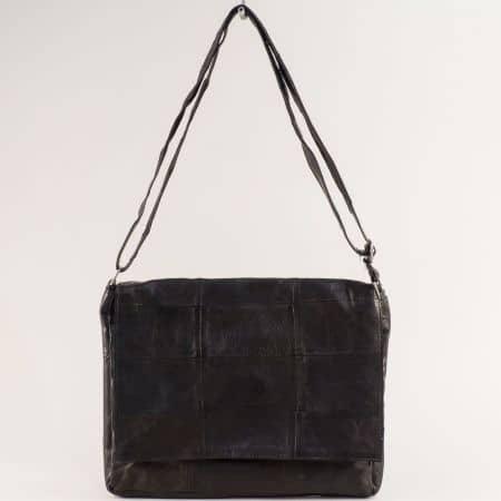 Черна дамска чанта от естествена кожа с прехлупване ch130220ch