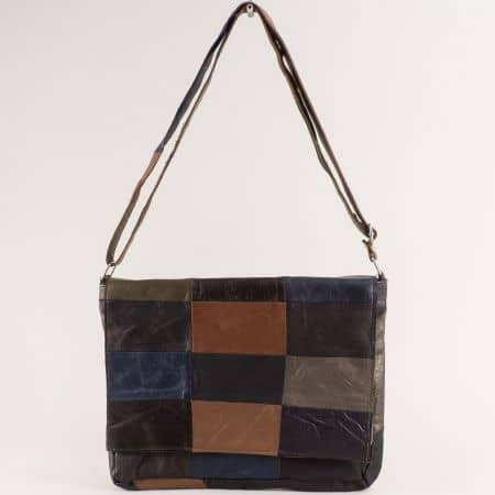 Дамска чанта в сиво, бежово, черно, кафяво и синьо ch130220ps