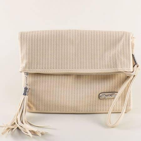 Бежова дамска чанта с дръжка за китката и дълга дръжка ch1317bj