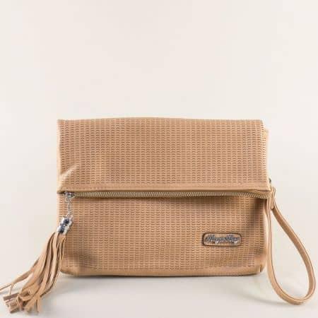 Кафява дамска чанта с дълга дръжка и пискюл ch1317k