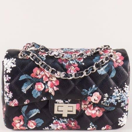 Дамска чанта на цветя в черен цвят ch13282ch