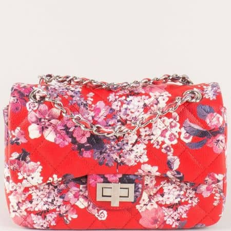 Дамска чанта на цветя в червен цвят ch13282chv