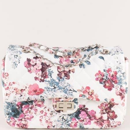 Дамска чанта на цветя в бяло ch13283b