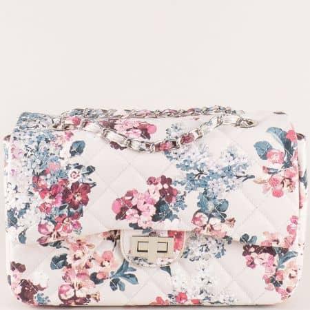 Бежова дамска чанта на цветя ch13283bj