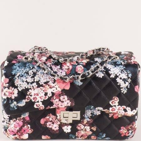 Дамска чанта на цветя в черно ch13283ch
