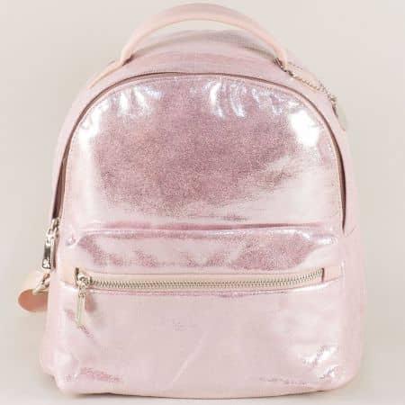 Дамска раница в розов цвят с перлен блясък ch13302rz