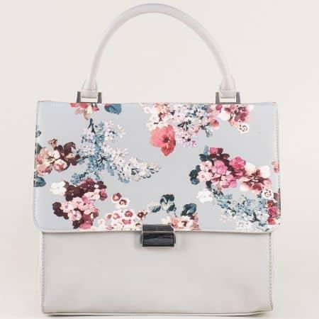 Сива дамска чанта с цветна щампа ch13613sv