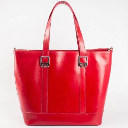 Дамска стилна чанта произведена от висококачествена естествена кожа в червен цвят ch140chv
