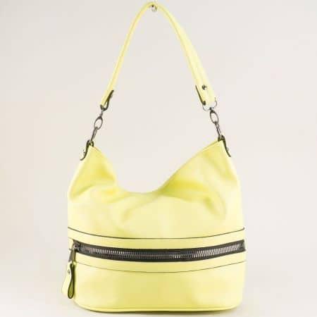 Жълта дамска чанта, тип торба с дълга и къса дръжка ch1455j