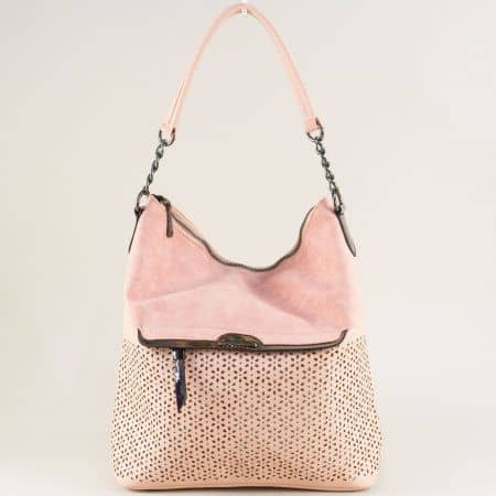Розова дамска чанта с флорален перфо мотив ch1458rz
