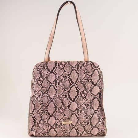 Дамска чанта в розов цвят със змийски принт ch1464rz