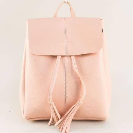 Дамска раница в розов цвят с два пискюла ch1502rz
