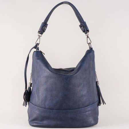 Синя дамска чанта с ефектни пискюли, къса и допълнителна дълга дръжка ch154s