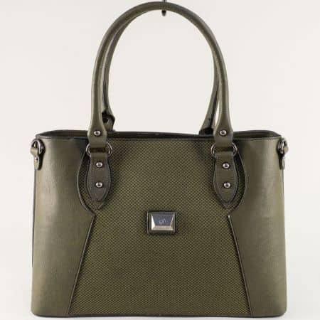 Дамска чанта с твърда структура в зелен цвят ch1611z