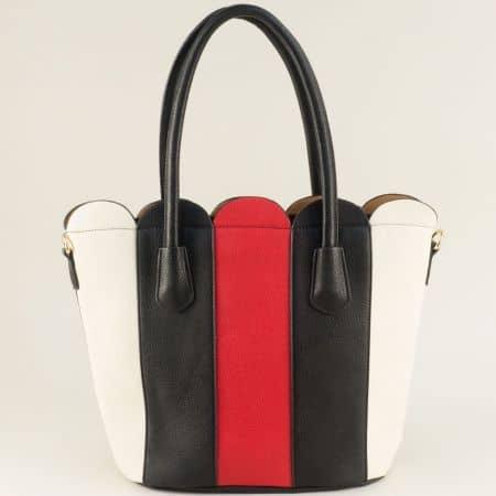 Дамска чанта в бежово, червено и черно ch1622ch