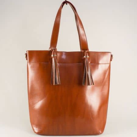 Кафява дамска чанта с два пискюла, къса и дълга дръжка ch1735-74k