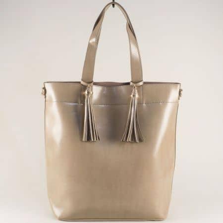 Сива дамска чанта с две къси и дълга дръжка ch1735-74sv