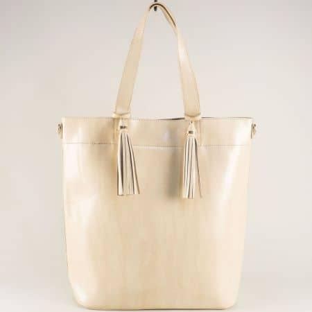 Бежова дамска чанта с две къси и дълга дръжка ch1735-74tbj