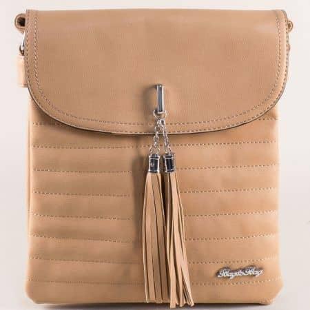 Кафява дамска чанта с дълга дръжка и пискюл ch1756k