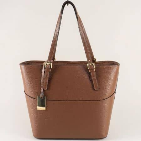 Кафява дамска чанта от естествена кожа с твърда структура  ch1763k