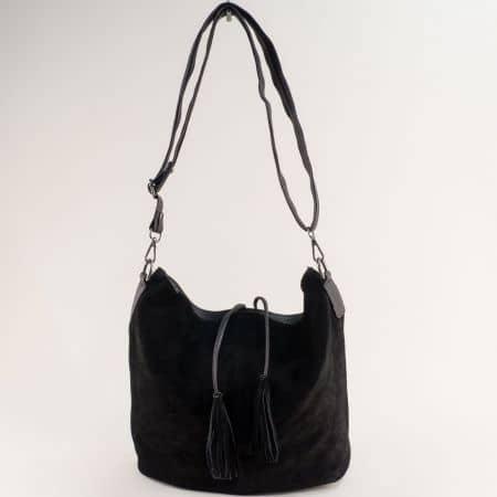 Черна дамска чанта от естествена кожа и велур ch180220vch