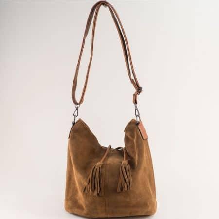 Кафява дамска чанта от естествен велур и кожа ch180220vk
