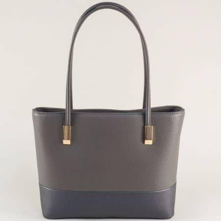 Сива дамска чанта с твърда структура с две дръжки ch2017sv