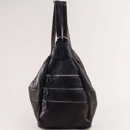Черна дамска раница с практични външни джобчета ch2102ch