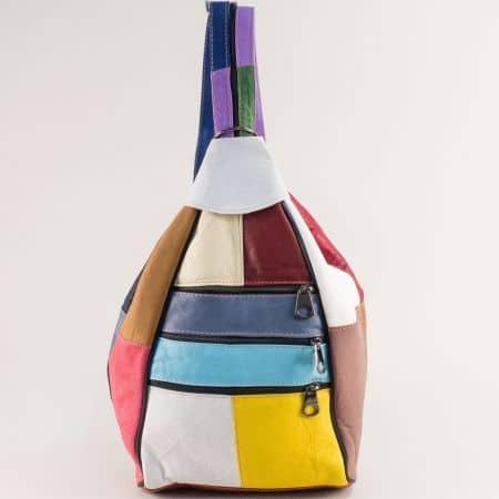 Дамска раница в лилаво, бяло, жълто, синьо, розово и кафяво ch2102ps