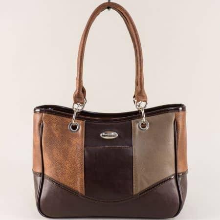 Дамска чанта в кафяво, светло и тъмно кафяво ch2177kk