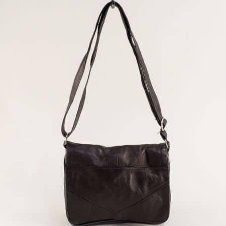 Бронзова дамска чанта с прехлупване от естествена кожа ch241brz
