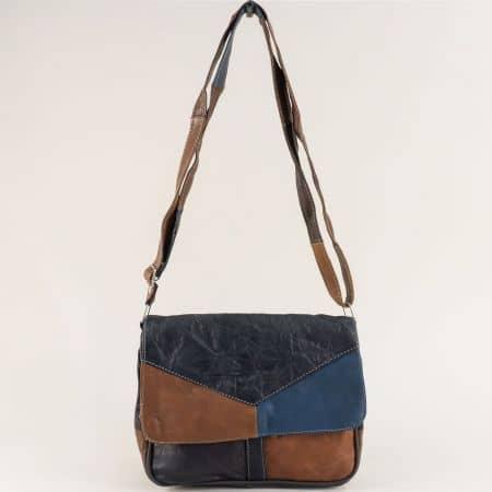 Пъстра дамска чанта с прехлупване от естествена кожа ch241ps