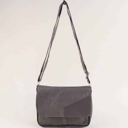 Сива дамска чанта от естествена кожа с дълга дръжка ch241sv