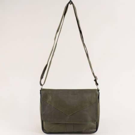 Зелена дамска чанта с прехлупване от естествена кожа ch241z