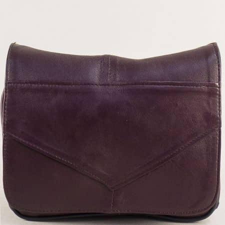 Дамска чанта с дълга дръжка в цвят бордо от естествена кожа ch242bd