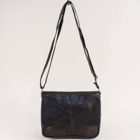 Дамска чанта в черно с прехлупване от естествена кожа ch242ch1