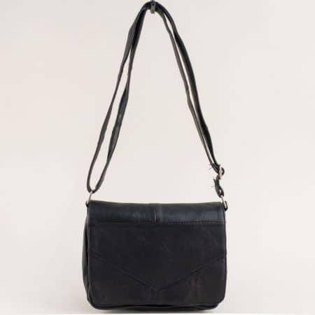 Черна дамска чанта с прехлупване от естествена кожа ch242ch2