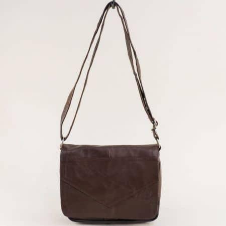 Кожена дамска чанта с дълга дръжка в тъмно кафяво ch242kk