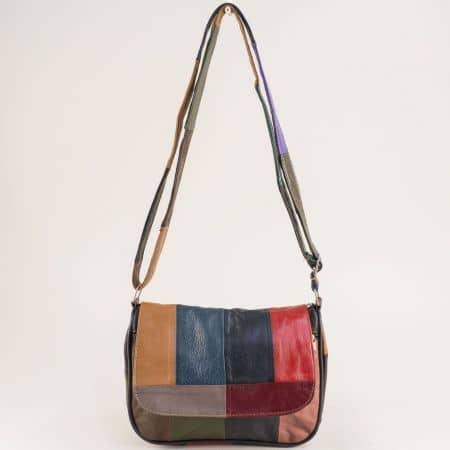 Пъстра дамска чанта от естествена кожа с дълга дръжка ch242ps