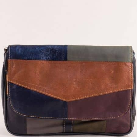 Пъстра дамска чанта с прехлупване от естествена кожа ch242ps2