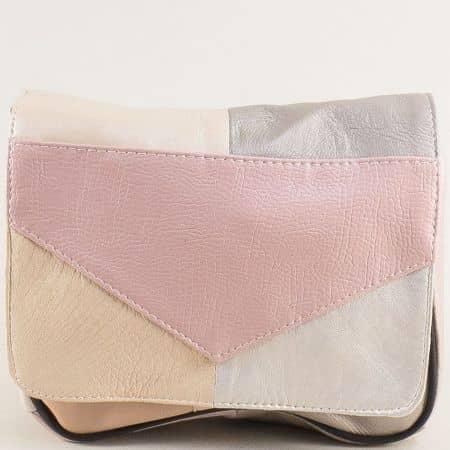 Дамска чанта с дълга дръжка в сиво, розово и бежово ch242ps3