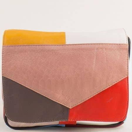 Дамска чанта с дълга дръжка в розово, червено, бяло и жълто ch242ps4