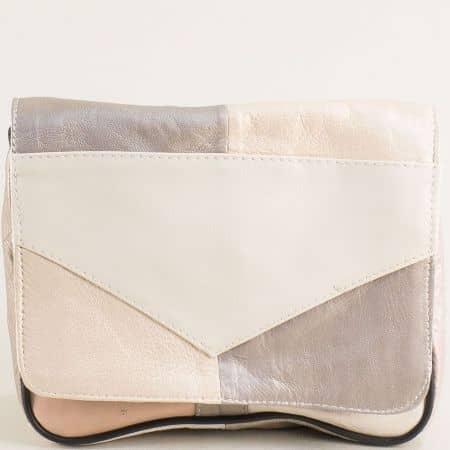 Дамска чанта в бежово, кафяво, сиво и розово ch242ps5