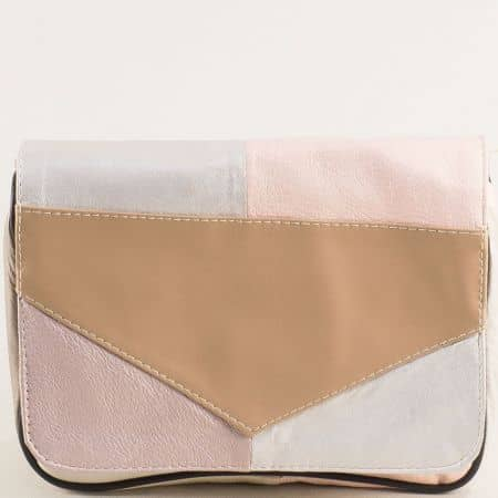 Кожена дамска чанта в бежово, кафяво, бяло и розово ch242ps6