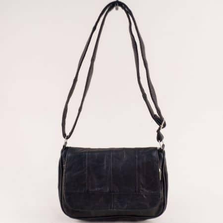 Черна дамска чанта с дълга дръжка от естествена кожа ch244ch