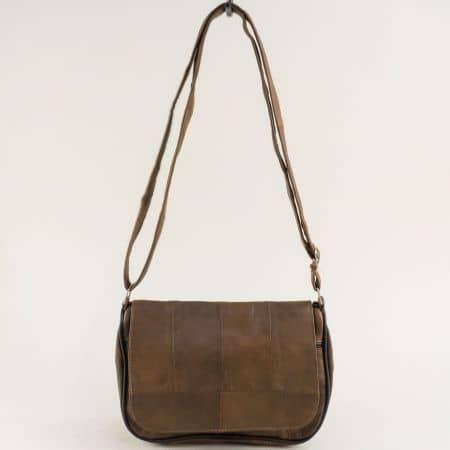 Кафява дамска чанта с прехлупване от естествена кожа ch244k